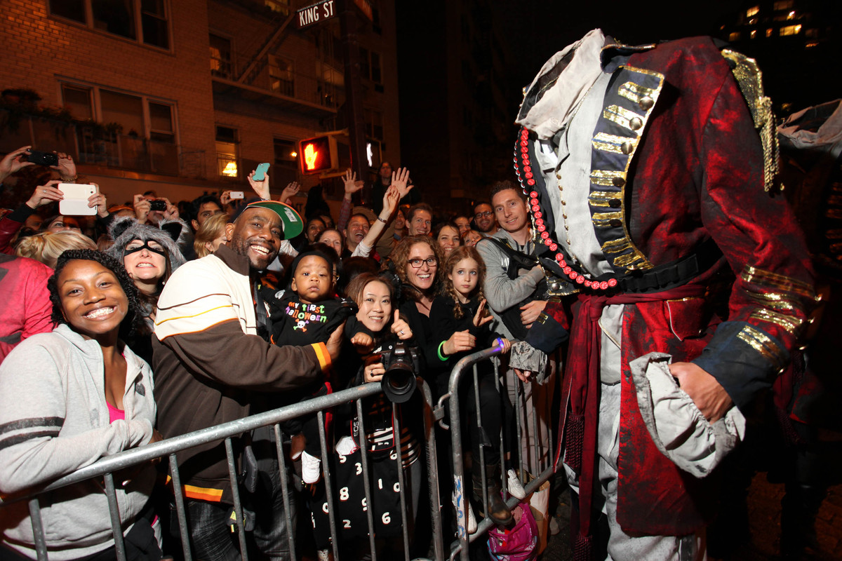 The 7-foot-tall Headless Horseman greets