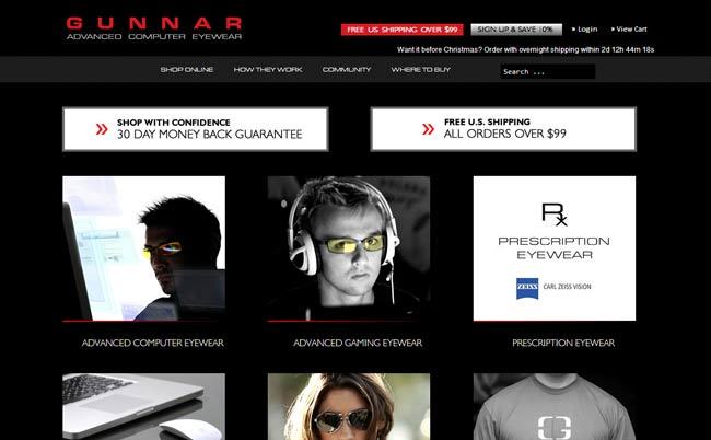 GUNNAR 防疲劳眼镜网站